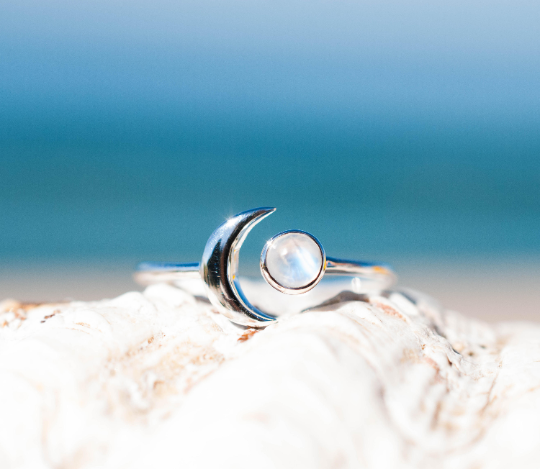 Half Moon Sterling Silver Ring - Moonstone (MR116)