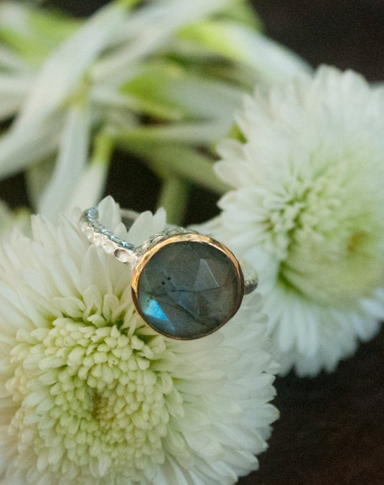 Rainbow Labradorite Ring * Sterling Silver 925 * Boho * Organic * Gold Vermeil * Mix metals* Gypsy * Bridesmaid* Solitaire * Bridal * BJR076