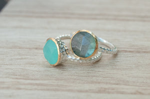 Teal Chalcedony Ring * Aqua * Sterling Silver 925 * Jewelry * Boho * Bycila * Gemstone * Bridal * Bridesmaid Gift * Solitaire * BJR078