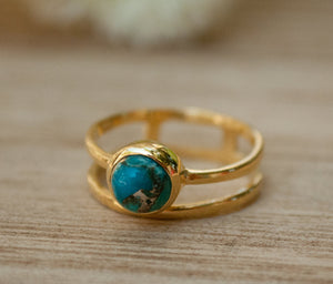 Copper Turquoise Ring * Gold Vermeil Ring * Gemstone Ring * Turquoise Ring * Blue * Handmade * Modern * Boho * Gold Ring * Hippie BJR103