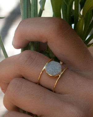 Helen Ring - White Druzy (BJR005)
