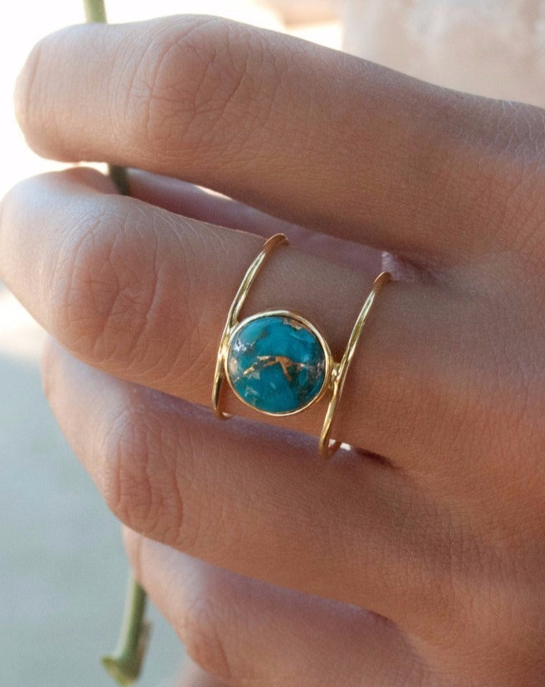 Helen Ring * Copper Turquoise * Gold Vermeil * BJR001