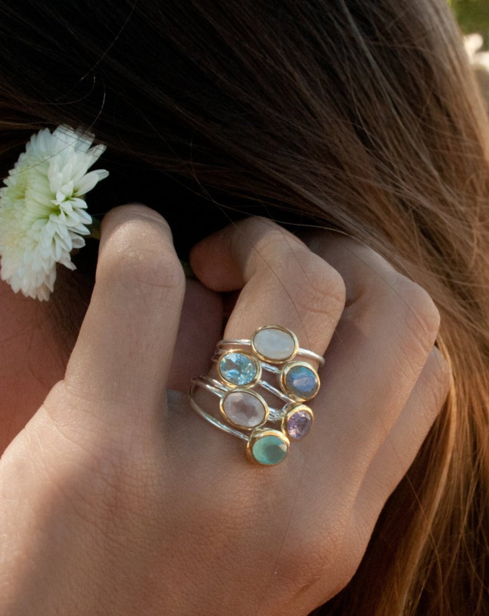 Gemstone Ring * Silver Ring * Blue Topaz * Teal Chalcedony * Moonstone * Amethyst * Labradorite * Stackable * Aqua * Rose Quartz * BJR080