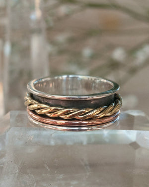 Spinning Ring * Meditation * Spinner * Spin * Anxiety * Anti Stress * Sterling Silver *Copper * Bronze *Jewelry * Bycila* Thin * Rope BJS034
