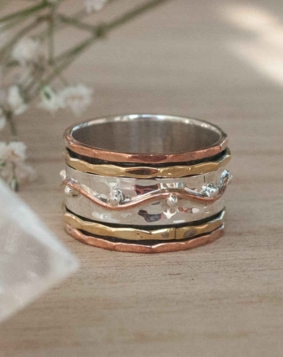 Spinner Ring * Meditation * Spinning * Spin *Anxiety * Anti Stress*Sterling Silver * Copper * Bronze * Jewelry *Israeli Gift for Her  BJS005