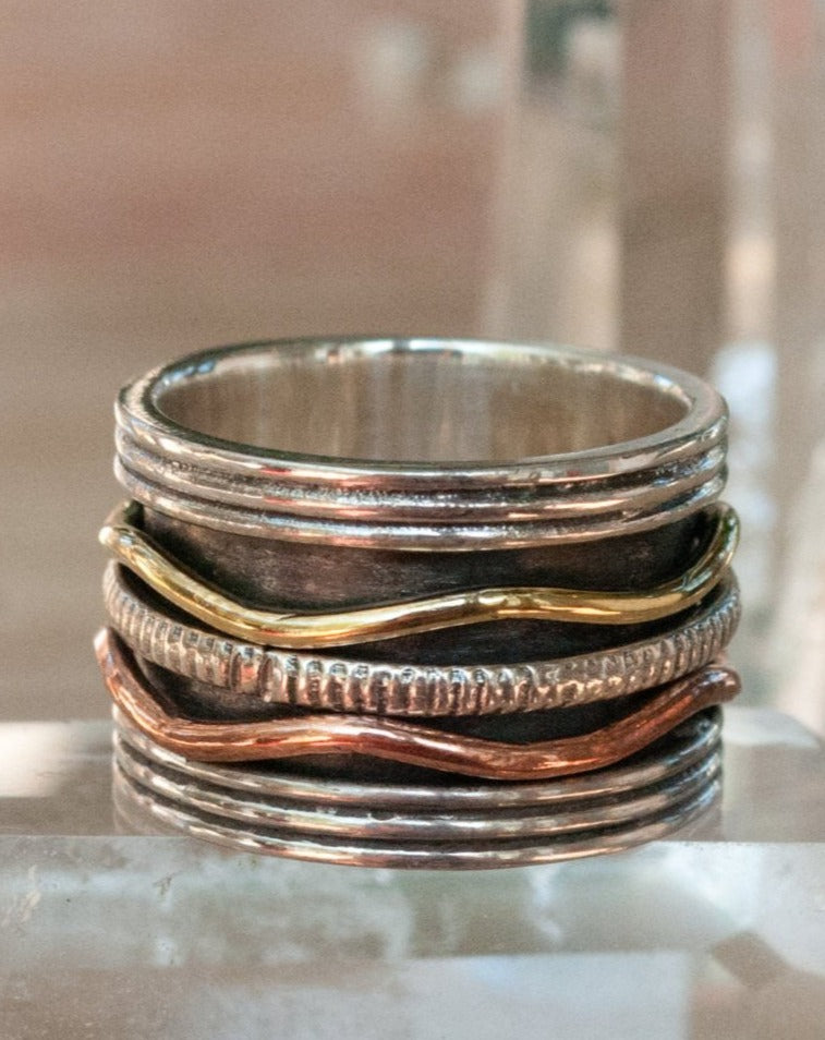 Spinning Ring * Meditation * Spinner * Spin * Anxiety * Antique * Sterling Silver Oxidized * Copper * Bronze * Jewelry *Gift for Her BJS019