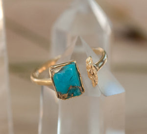 Copper Turquoise Ring * Gold * Adjustable * Bridal * Wedding * Wrap * Boho * Jewelry *Gemstone *Mermaid *Blue* BJR094