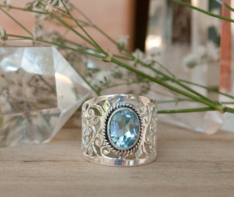 Blue Topaz Ring * Sterling Silver 925 * Filigree * Gemstone * Statement * Jewelry * Bycila * Gift For Her * Large Band BJR187