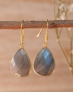 Celina Earrings * Labradorite * Gold Vermeil * BJE143