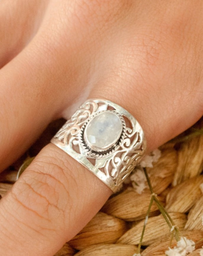 Moonstone Ring * Sterling Silver * Filigree * Handmade * Gemstone * Statement * Jewelry * Bycila * Gift For Her * Sterling Silver 925 BJR188