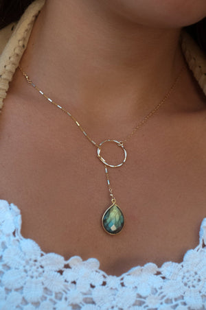 Rainbow Labradorite silver * Tear Drop * Lariat Necklace * Gold * Silver * Mix Metals * Gemstone * Statement * Bycila *Bridesmaid *BJN001-1C