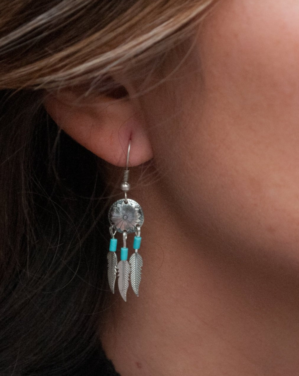 Indie Earrings * Turquoise * Sterling Silver 925 * BJE036