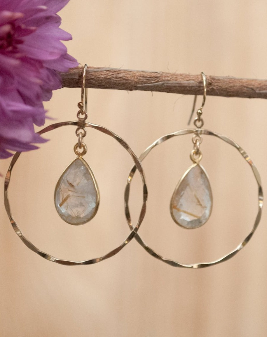 Layse Earrings * Rutilated Quartz * Gold * BJE136