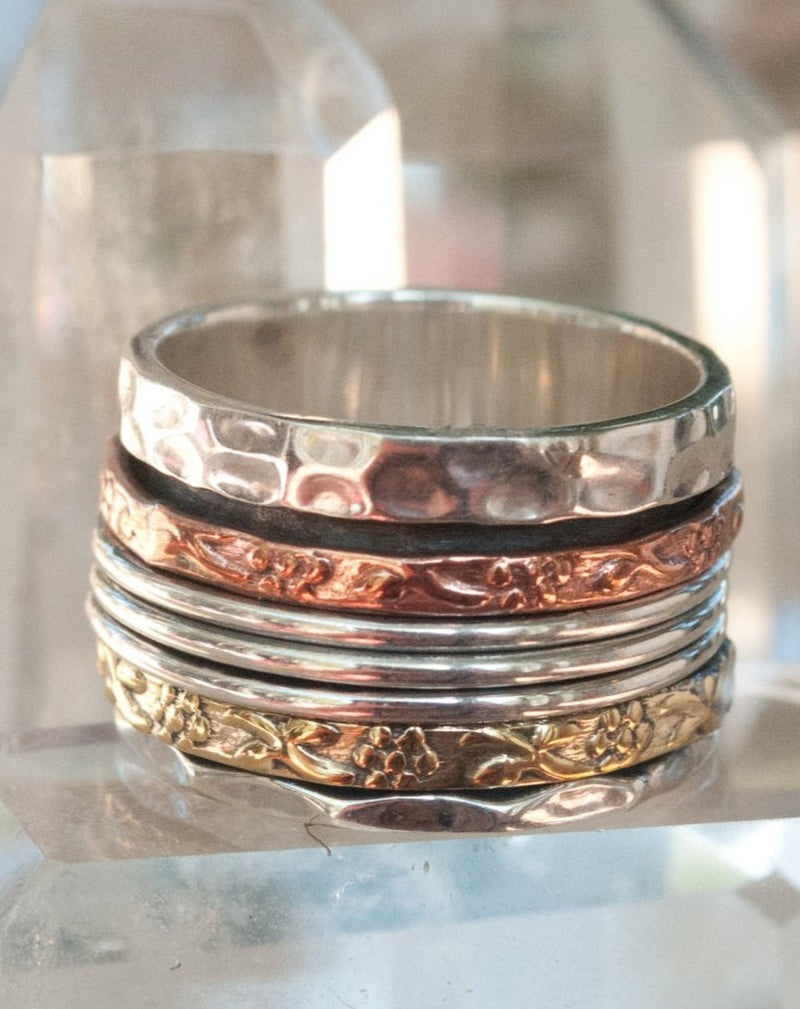 Spinner Ring * Meditation * Spinning * Spin * Anxiety * Anti Stress * Sterling Silver * Copper * Bronze * Jewelry * Israeli * BJS011
