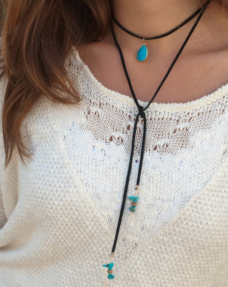Sophie Choker * Turquoise and Crystal * Black Leather * BJN077