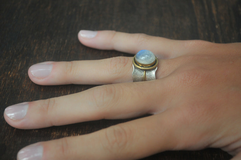 Moonstone ring * Sterling silver ring * Gold Vermeil ring * Wide ring * Handmade ring * Wave band ring * Gemstone* Rainbow Moonstone BJR205