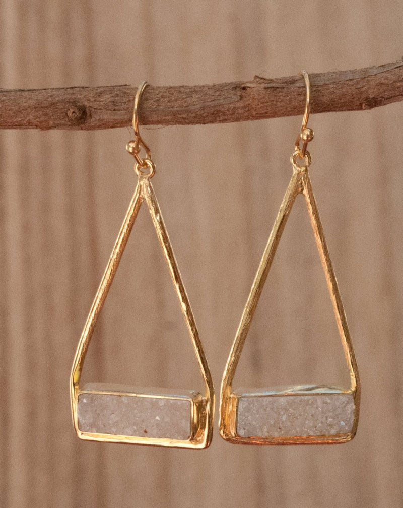 Marina Earrings * White Druzy * Gold Plated 18k or Silver Plated * BJE007B