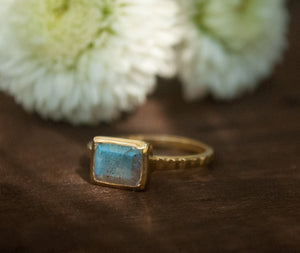 Labradorite, Black Diamond and Plain Band Rings * Gold Ring * Gold Labradorite Ring * Gold Vermeil * Gemstones Ring * BJR184A