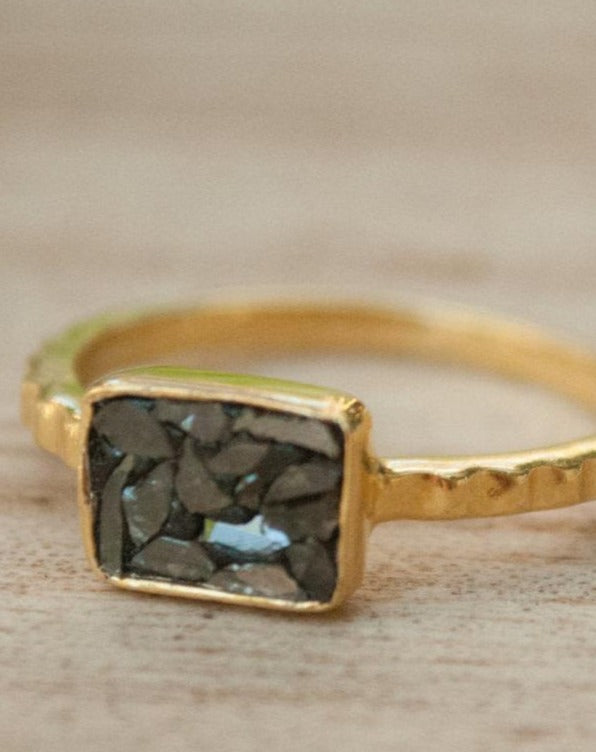 Black Diamond Ring * Gold Ring * Gold Vermeil * Diamond Gold Ring * Sparkle Ring * Engagement Ring * BJR184C