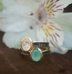 SALE Aqua Chalcedony Ring * Moonstone Ring * Statement Ring * Teal stone *Sterling Silver Oxidized *Boho *Mix Metals Ring * Gold Ring BJR156