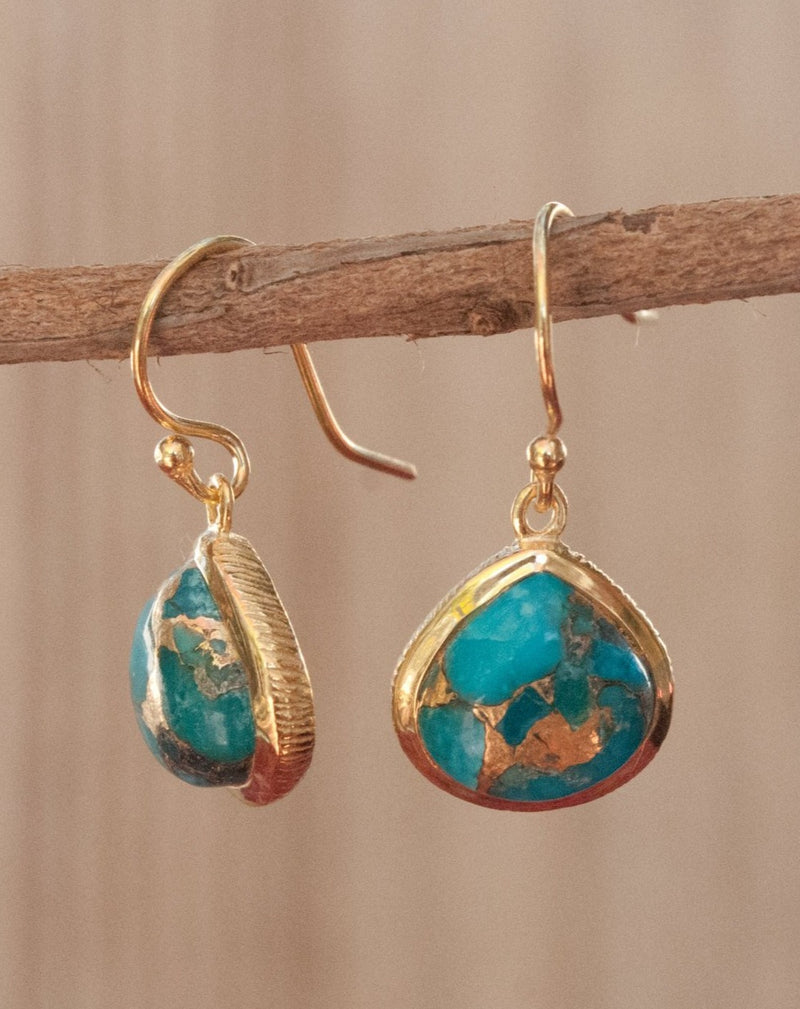 Lihue Earrings * Copper Turquoise * Gold Plated 18k or Sterling Silver 925 * BJE061A