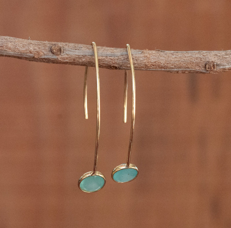 Blue Chalcedony Gold Threader Earrings *Gemstone *Aqua *Copper Turquoise * Labradorite * Gold Vermeil * Teal Chalcedony *Druzy * BJE051
