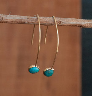 Labradorite Gold Vermeil Threader Earrings * Gemstone * Aqua * Copper Turquoise *White Druzy* Blue Chalcedony * Teal Chalcedony * BJE048