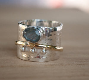 Labradorite Ring * Meditation * Spinner * Spinning * Anxiety * Hammered * Worry * Boho * Spin * Thick Band * Sterling Silver *Bronze* BJS013