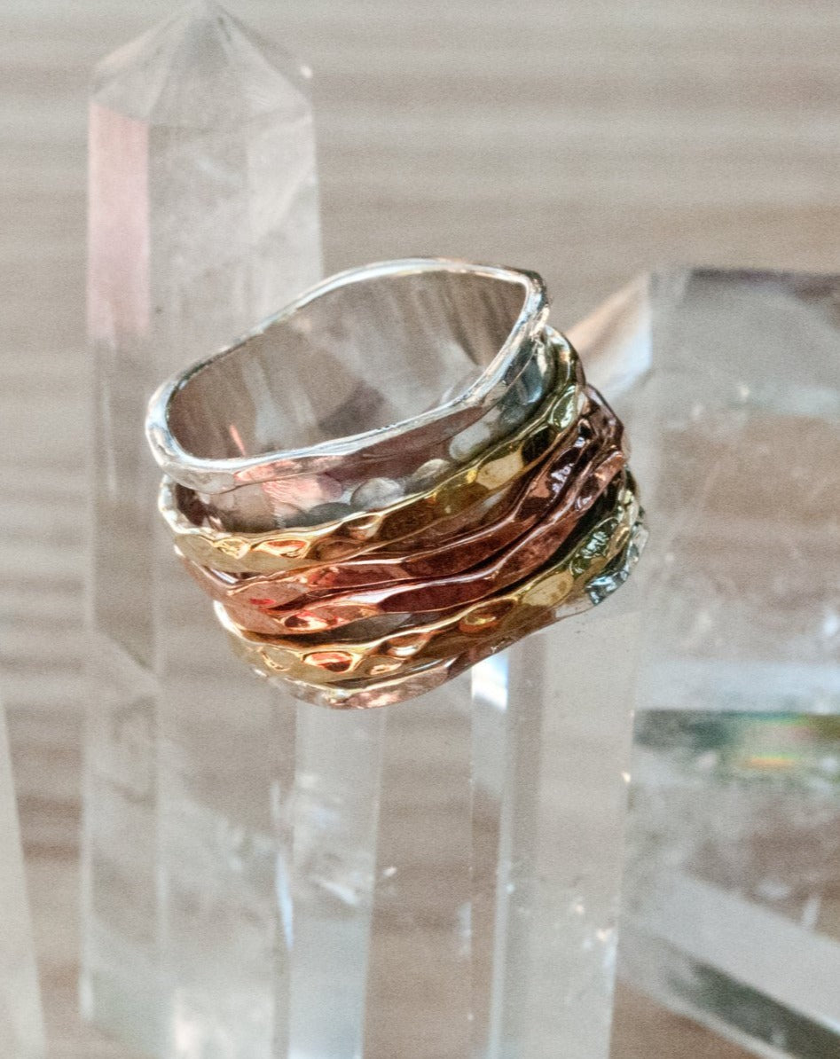 Spinning Ring * Meditation * Spinner * Spin * Anxiety * Hammered * Concave *Sterling Silver * Copper * Bronze * Jewelry * Bycila * BJS014