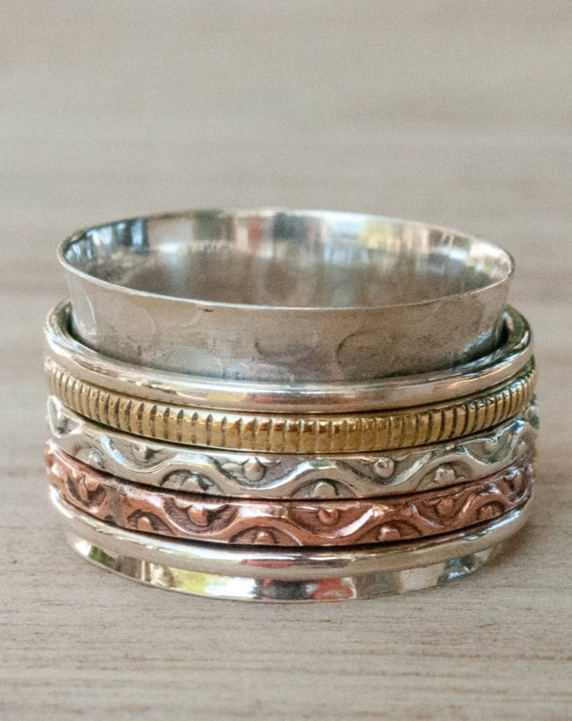 Spinner Ring * Meditation * Spinning * Spin * Anxiety * Anti Stress * Sterling Silver * Copper * Bronze * Jewelry *Hammered * Concave BJS007