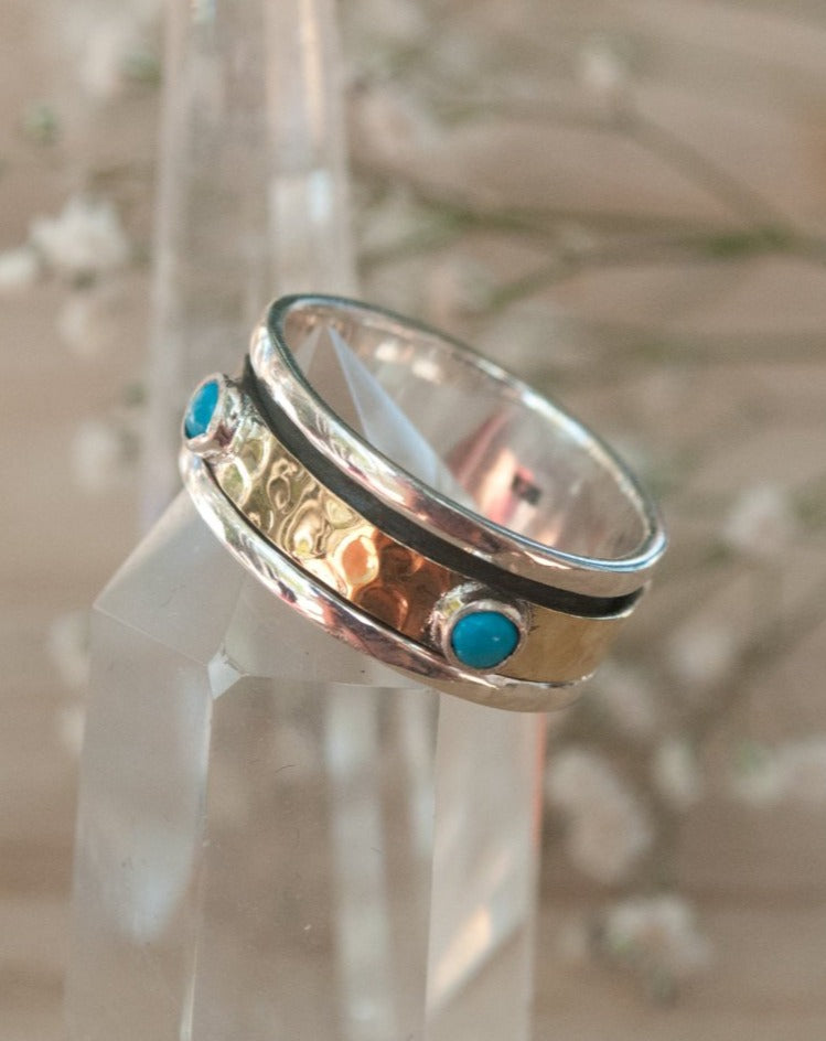 Turquoise Ring * Meditation * Spinner * Spinning * Anxiety * Hammered * Worry * Boho * Spin * Statement * Thin Band * Sterling Silver BJS009