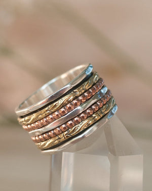 Spinner Ring * Meditation * Spinning Ring* Spin * Anxiety * Anti Stress * Sterling Silver  * Bronze * Jewelry * Bycila * Gift for Her BJS004