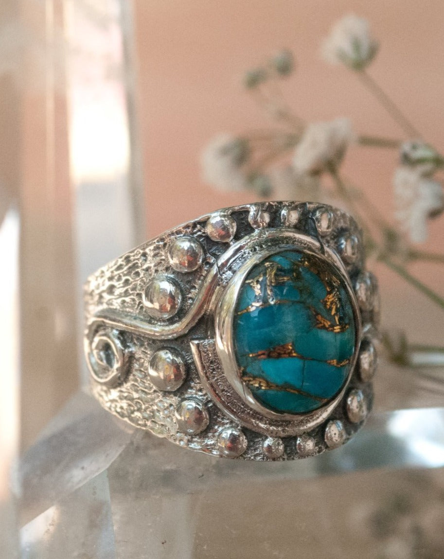 Copper Turquoise Ring * Sterling Silver * Statement * Gemstone * Jewelry * Bycila * Handmade * Precious Stone * Gift For Her * BJR228