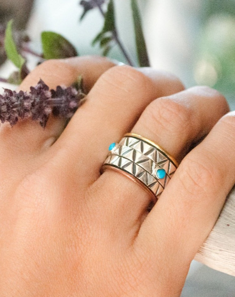 Turquoise Ring * Meditation * Spinner * Spinning * Anxiety * Worry * Boho * Spin * Handmade * Statement * Large Band *Sterling Silver BJS029