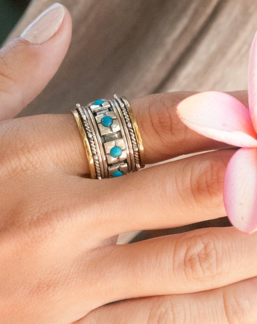 Turquoise Ring * Meditation * Spinner * Spinning * Anxiety Ring * Worry * Boho * Spin Ring * Statement * Large Band * Sterling Silver BJS001