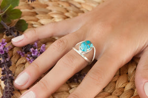 Copper Turquoise Ring * Sterling Silver * Statement * Gemstone * Jewelry * Handmade * Stone * Thin Band * Bycila * BJR041