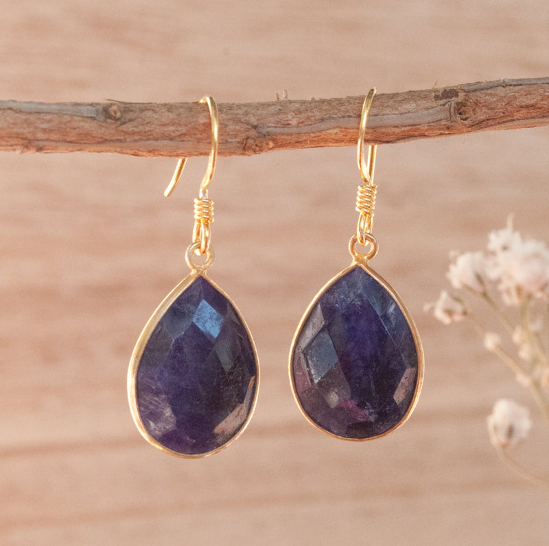Lapis Lazuli Dangle Earrings Gold Vermeil * Blue * Boho * Bohemian * handmade earrings * Gemstone * ByCila * BJE143