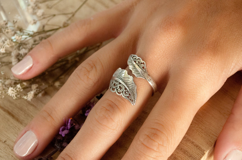 Feather Ring * Sterling Silver * Handmade * Boho * Bohemian * Hippie * Adjustable * Silver Ring * Hippie BJR203