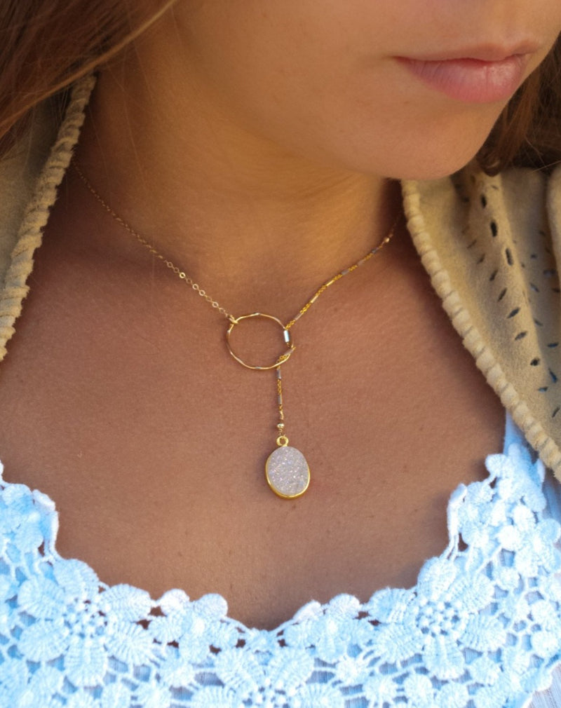 Heloisa Oval Necklace * White Druzy * Gold Filled or Sterling Silver * BJN055
