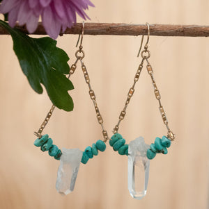 Crystal Quartz and Turquoise Earrings Gold Vermeil and Sterling Silver 925 *Mix metals * Handmade * Boho * Gypsy * Gift for her BJE146