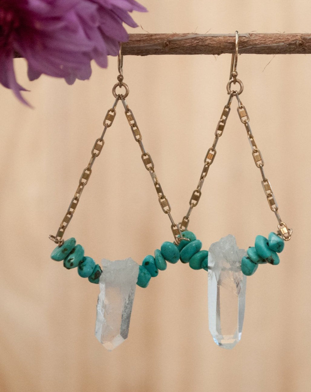 Melissa Earrings * Crystal Quartz and Turquoise * Gold Vermeil and Sterling Silver 925 * BJE146