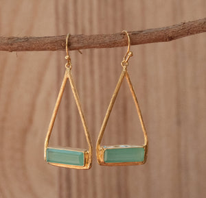 Aqua Chalcedony Earrings Gold Plated 18k or Silver Plated * Dangle * Gemstone * Natural * Lightweight * Triangulum * Geometric * BJE005A