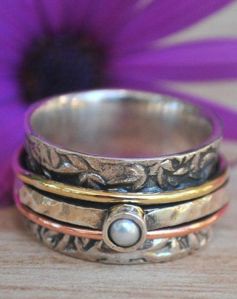 Spinner Ring Pearl* Meditation Ring Pearl * Spinning Ring* Statement Ring* Spin Ring* Worry Ring* Mix Metals Ring*  Silver Ring*BJS015
