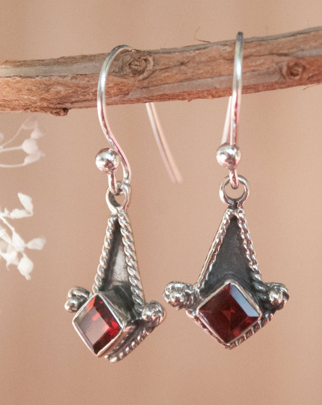 Garnet Earrings Sterling Silver 925 * Oxidized * Dangle * Gemstone * Lightweight * Statement * ByCila *Jewelry * January Birthstone * BJE031
