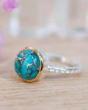 Copper Turquoise Ring * Sterling Silver 925 * Thin * Solitaire * Bridal * Statement * Gemstone *Bridesmaid*Blue*Handmade*Gift for Her BJR079
