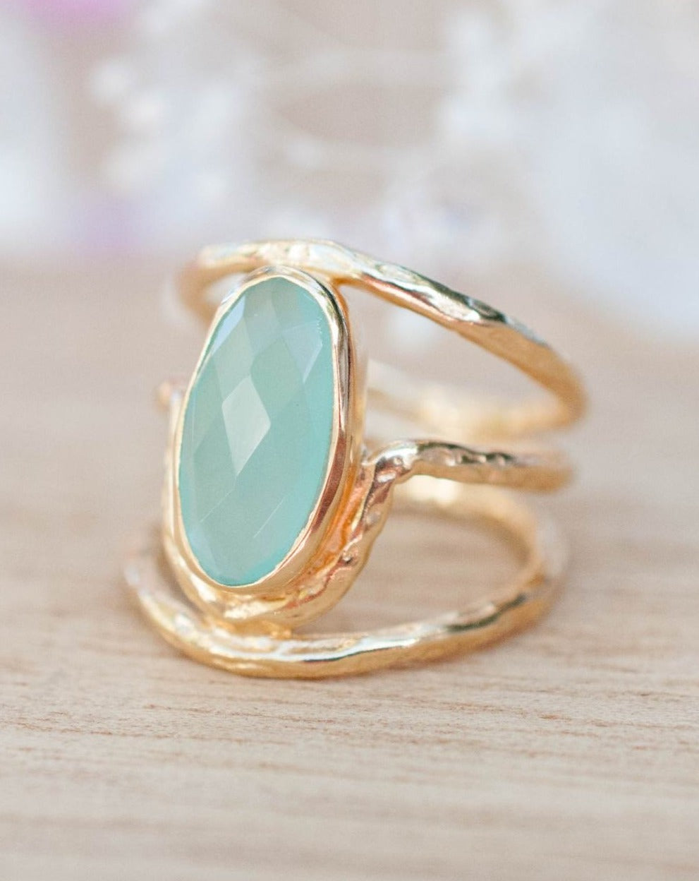 Gold Plated 18k Aqua Chalcedony * Gemstone Ring * Handmade * Statement * Natural * Organic*Gift for her*Jewelry*Bycila*May Birthstone*BJR060