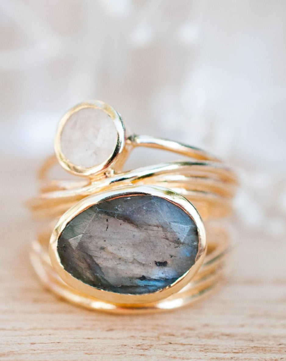 Gold Plated 18k Ring * Labradorite * Moonstone * Gemstones * Handmade * Statement * Natural * Organic * Gift for her * Jewelry*Bycila*BJR073