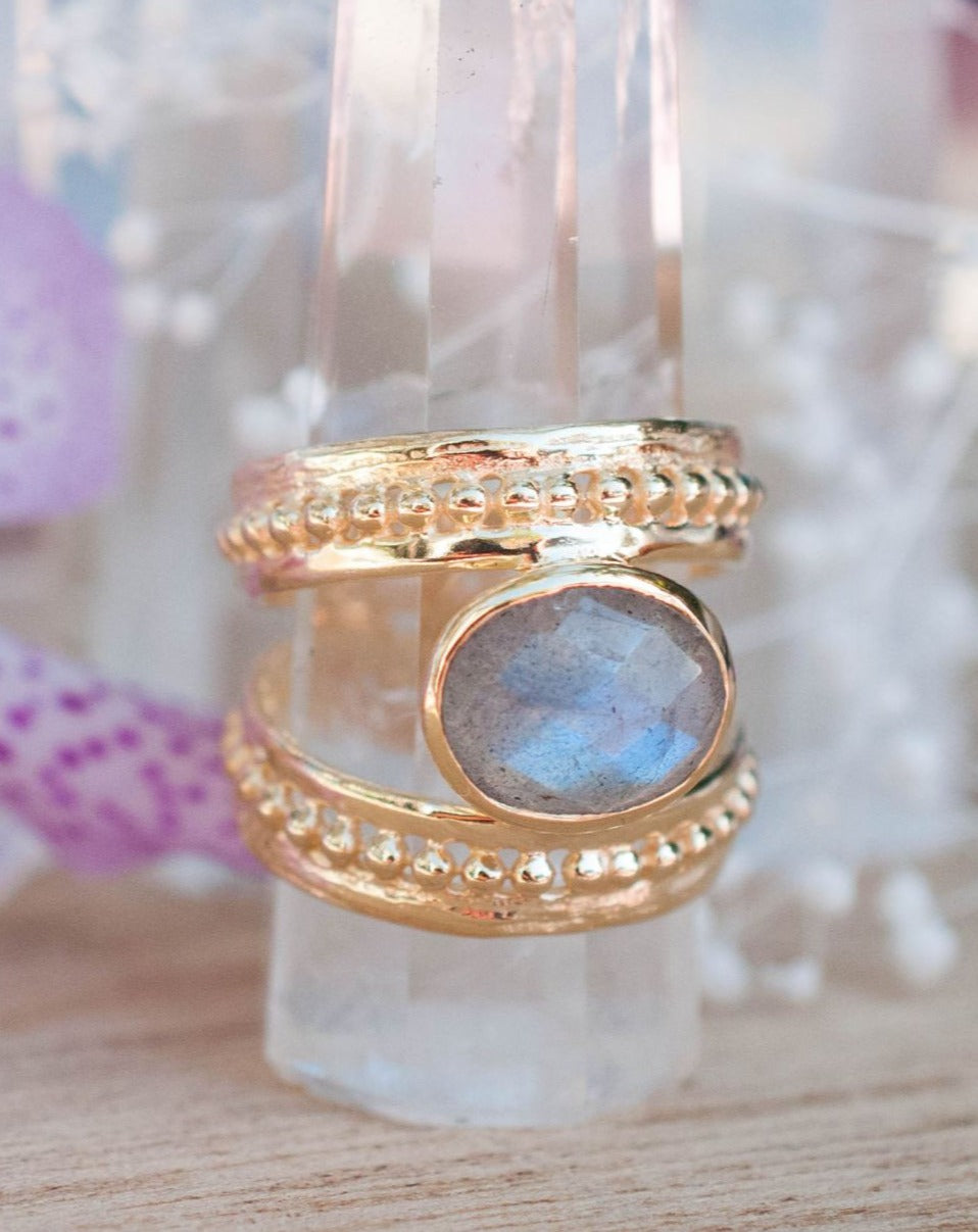 Gold Plated 18k Labradorite Ring * Gemstone * Handmade * Statement * Gift for Her * Jewelry *Bycila*February Birthstone*Bohemian*Boho*BJR224