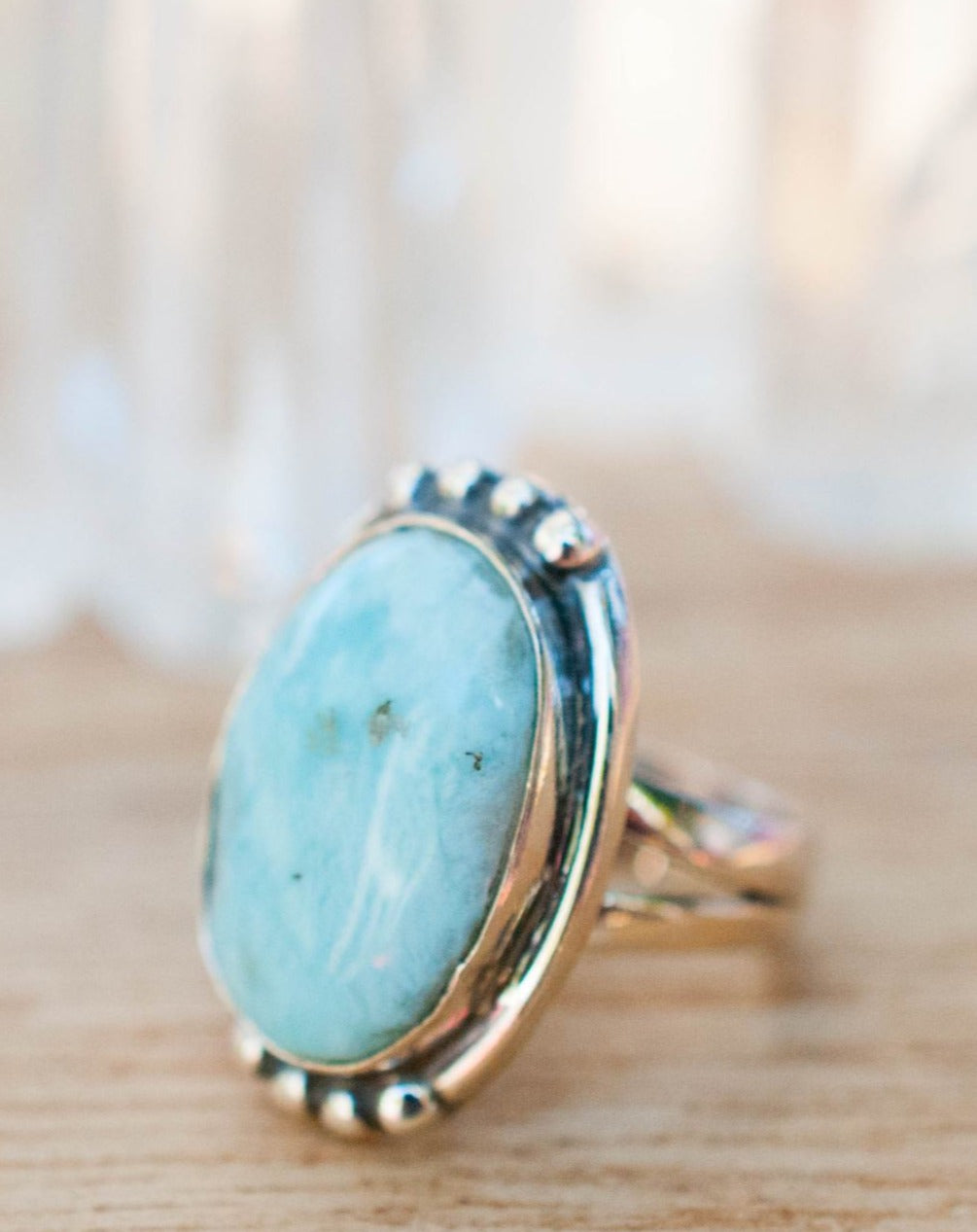 Larimar Ring * Sterling Silver 925 * Gemstone * Blue * Natural * Statement * Handmade * Semi Precious Stone * Bohemian * Chic *Boho *BJR236