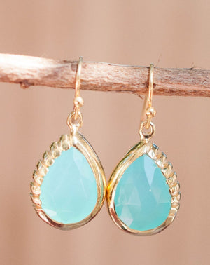 Skye Earrings * Aqua Chalcedony * Gold Plated 18k  * BJE009